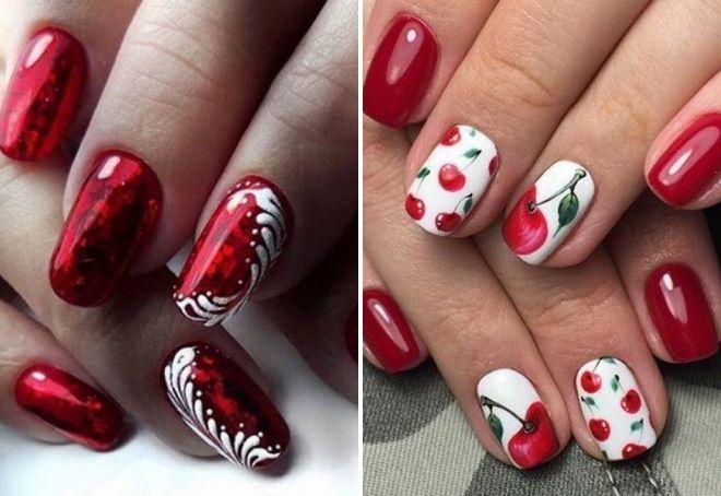 дизайн ногтей 2018 с красным лаком