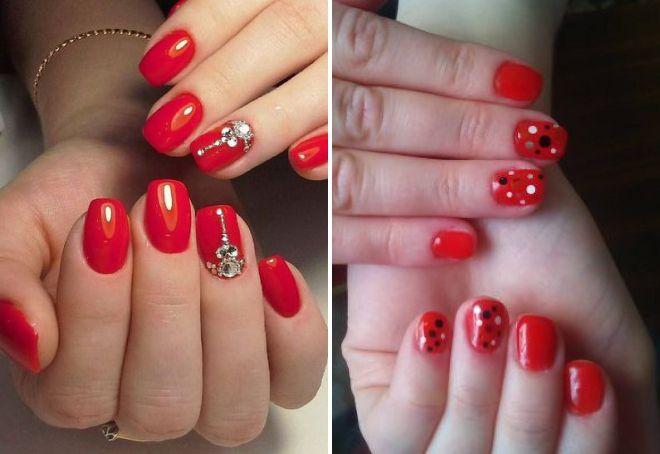 стильный красный дизайн ногтей 2018