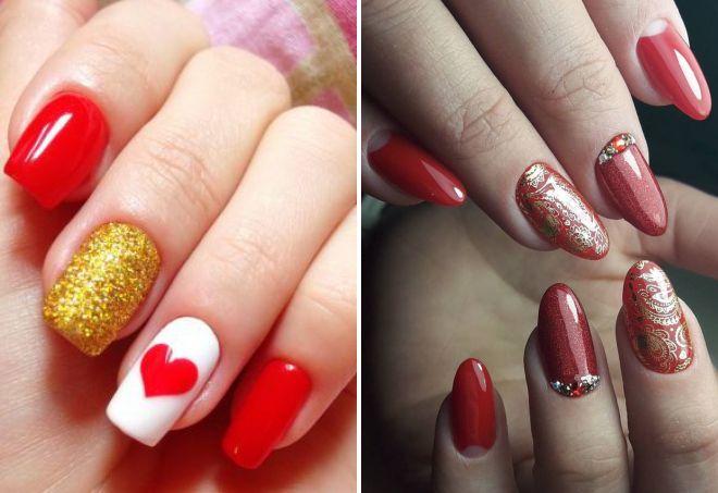 красный дизайн ногтей 2018 с золотом