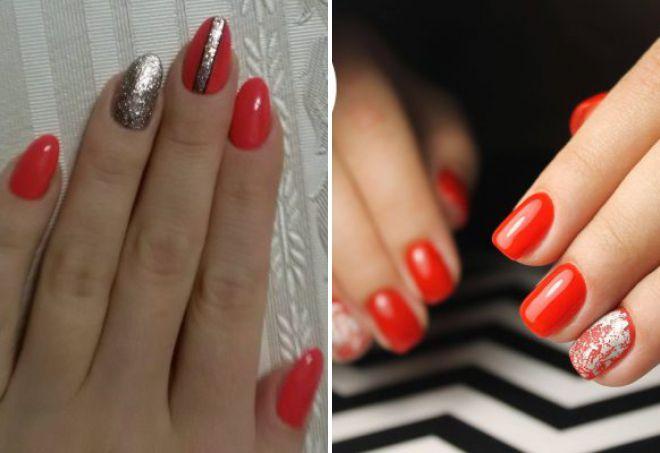 красный дизайн ногтей 2018 с серебром