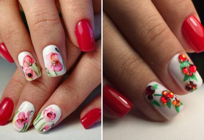 красный дизайн ногтей 2018 с цветами