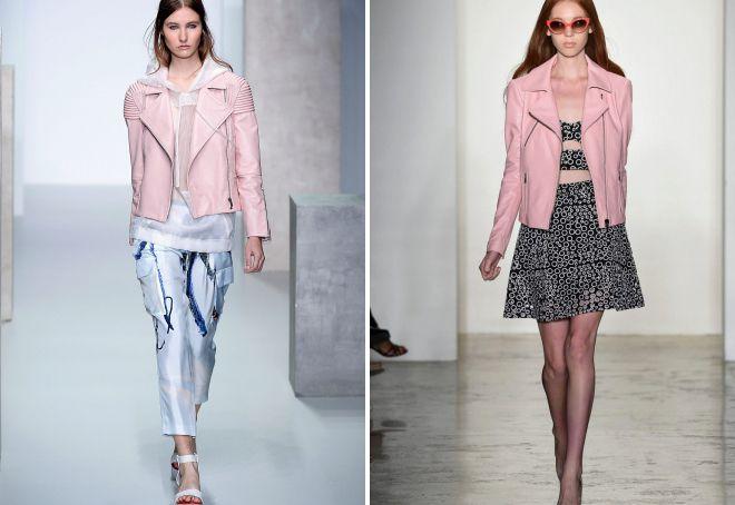 розовая кожаная куртка с чем носить