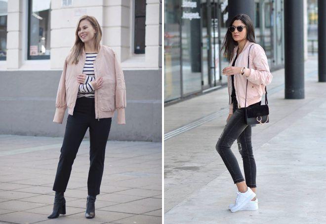 с чем носить бледно розовую кожаную куртку