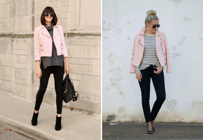 нежно розовая кожаная куртка