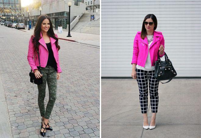с чем носить яркую розовую кожаную куртку
