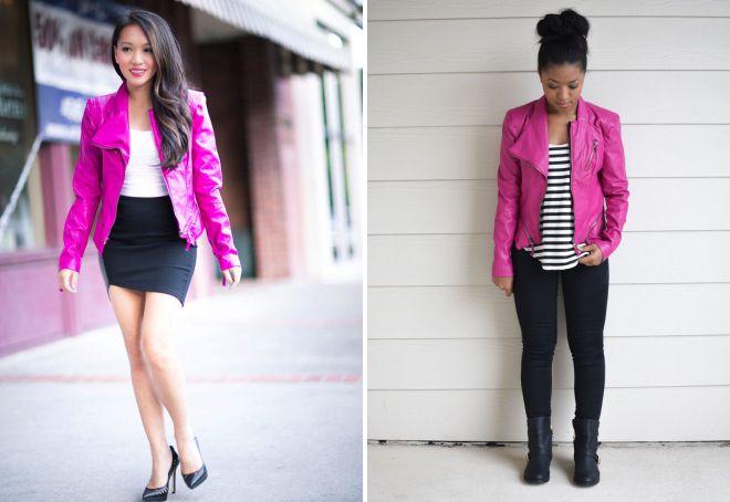 ярко розовая кожаная куртка