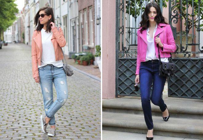 розовая кожаная куртка с джинсами