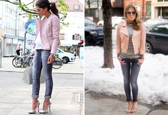 розовая кожаная куртка лук