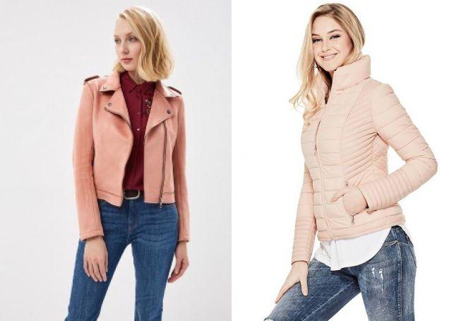 женская розовая кожаная куртка