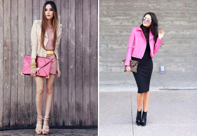 розовая кожаная куртка с платьем
