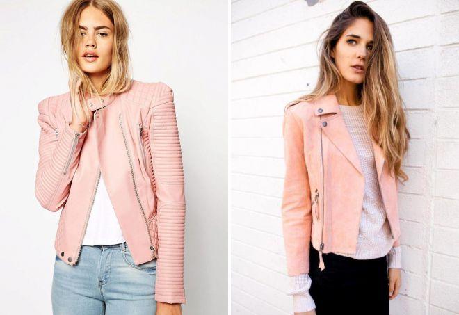 кожаные куртки розового цвета