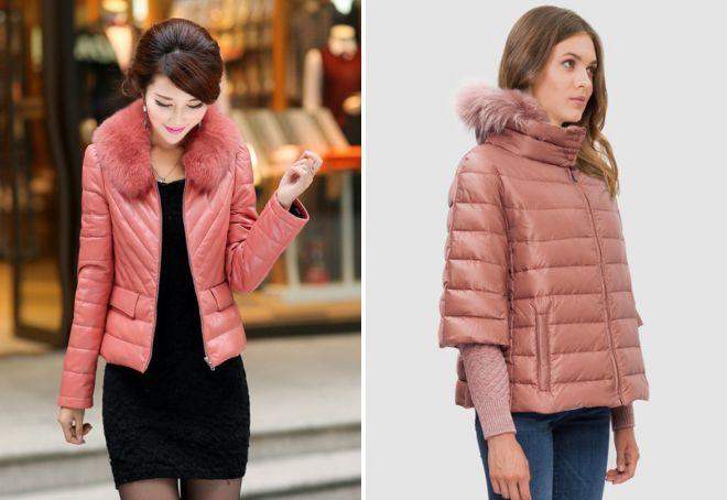 розовая кожаная куртка с мехом