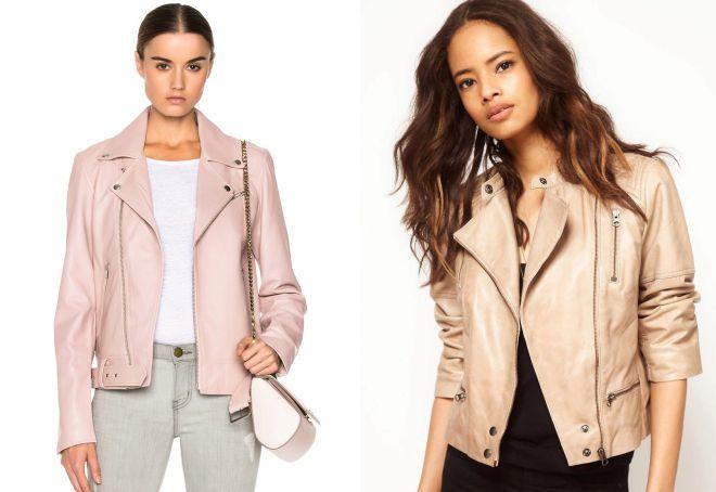 кожаная розовая куртка косуха
