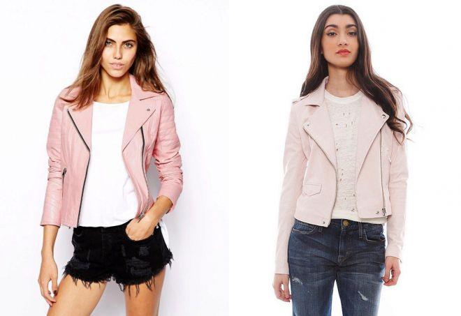 красивая розовая кожаная куртка