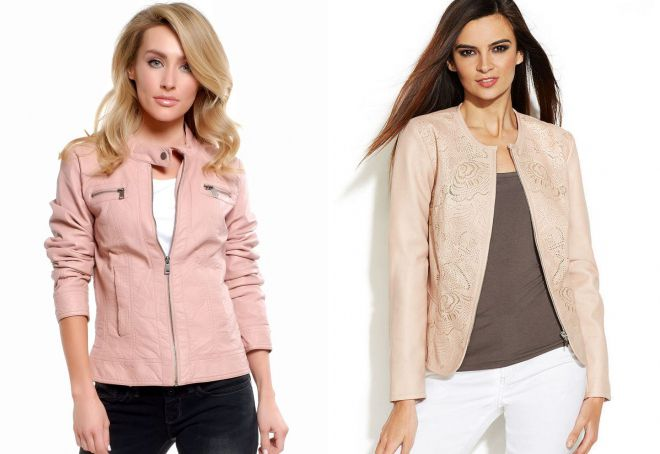 короткая розовая кожаная куртка