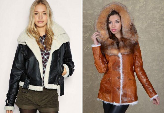 кожаные куртки с натуральным мехом