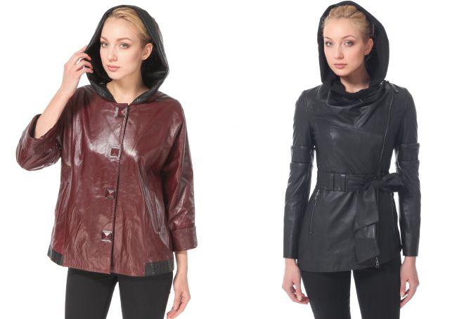 кожаная куртка с капюшоном натуральная кожа