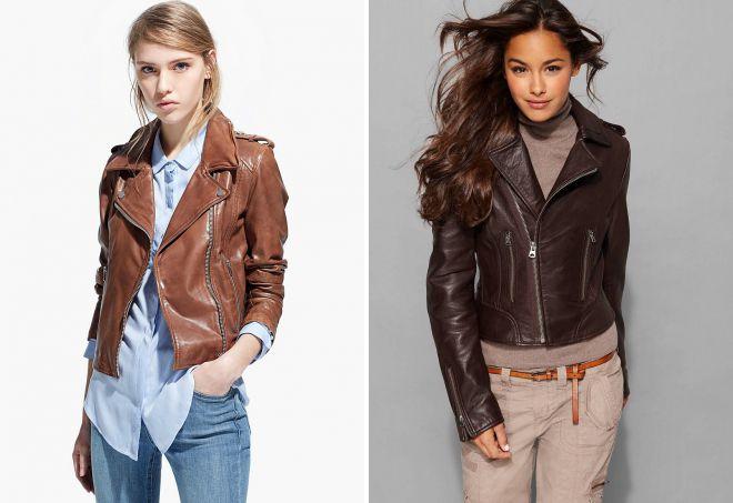 женские натуральные кожаные куртки косухи