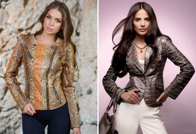 женская кожаная куртка из экзотической кожи