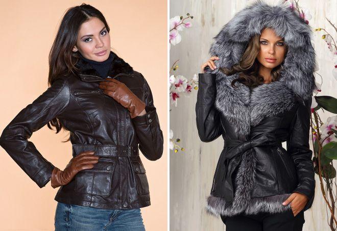 зимние натуральные кожаные куртки