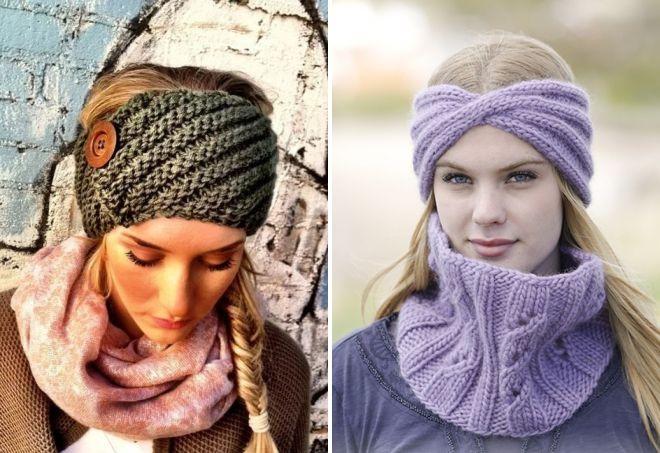 красивые женские вязаные повязки на голову с ушками солоха и