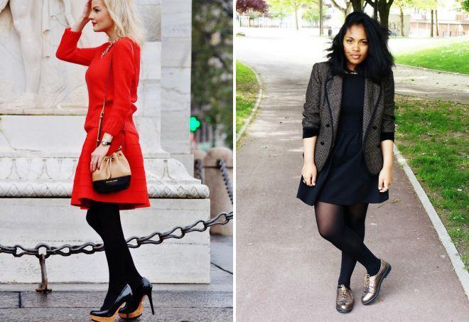 черные колготки со светлой обувью