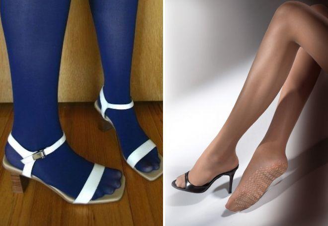 открытая обувь с колготками