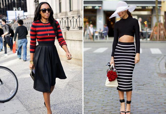 черная юбка с завышенной талией