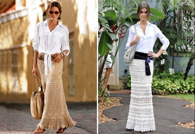 Длинные вязаные летние юбки
