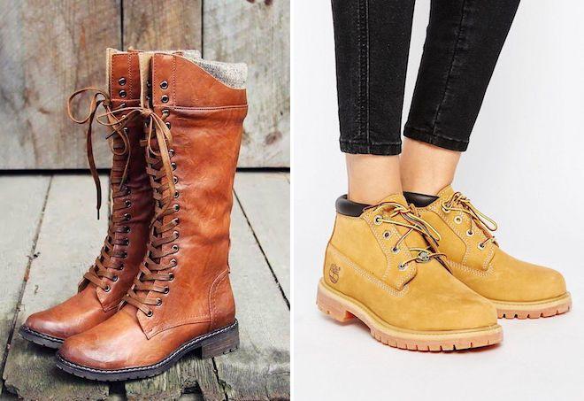2ce102e9 Модные женские ботинки на шнурках – зимние, на каблуке и без ...