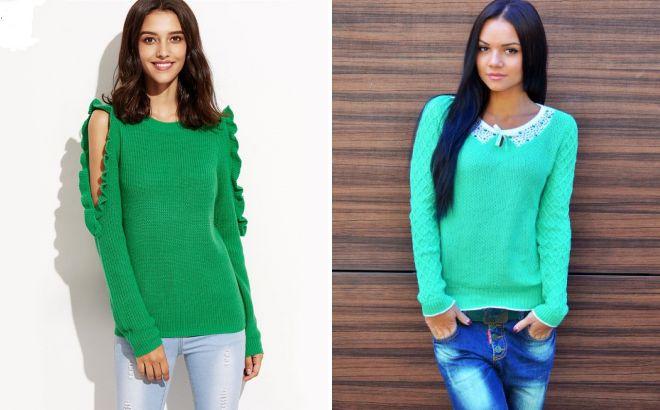 зеленый свитер без горла