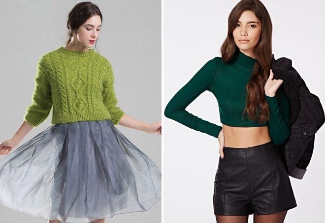 короткий зеленый свитер