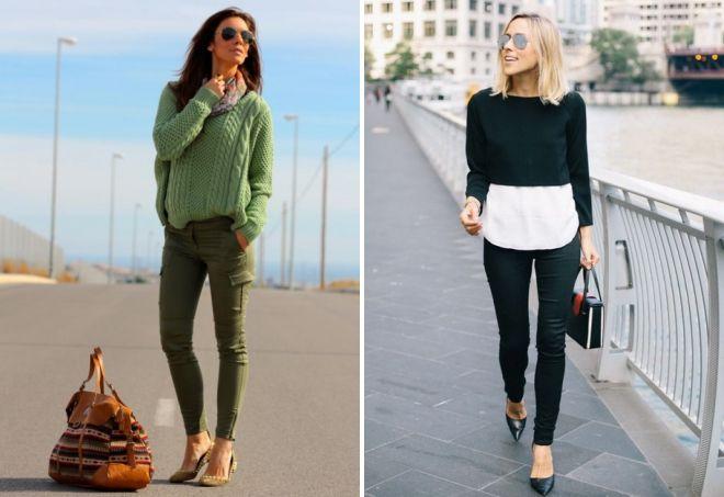 с чем носить зеленый свитер