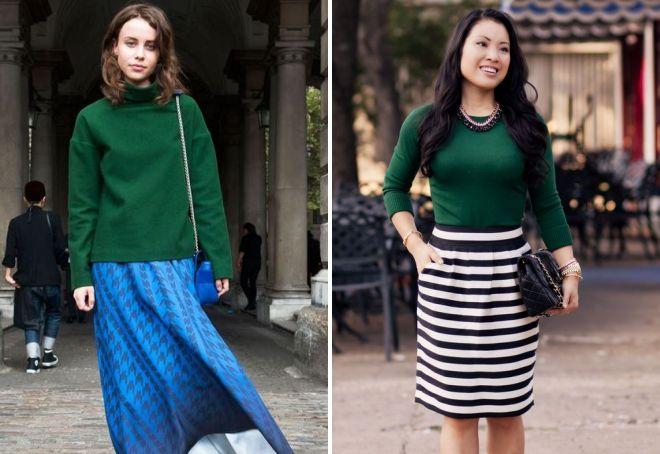 с чем носить женский зеленый свитер