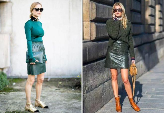 зеленый свитер и кожаная юбка