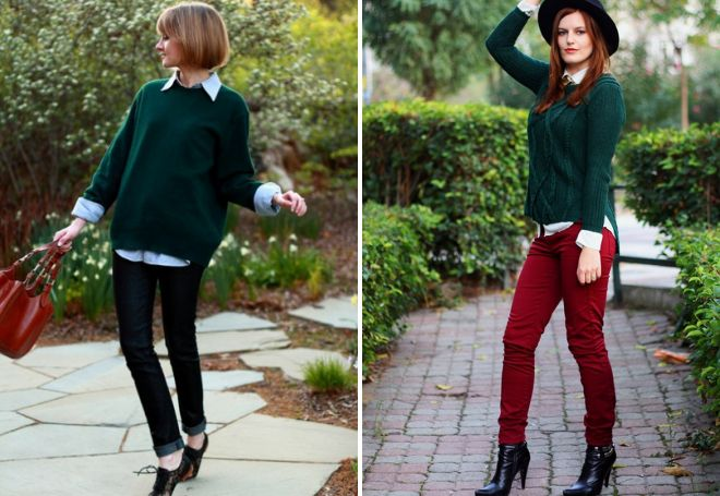 зеленый свитер с джинсами