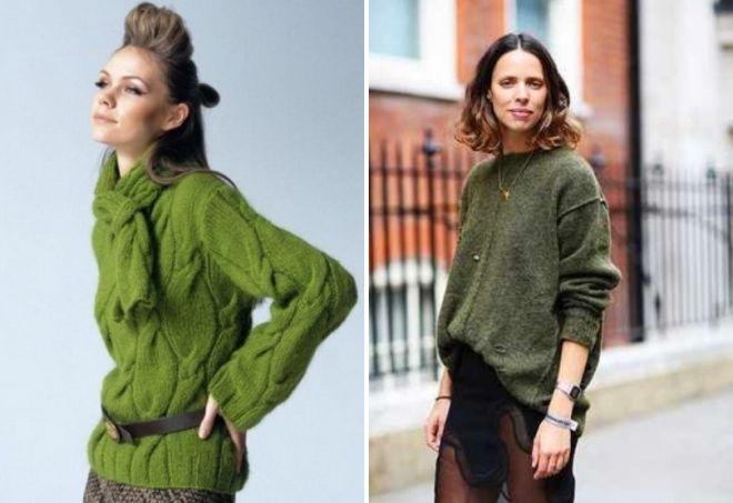 модный зеленый свитер