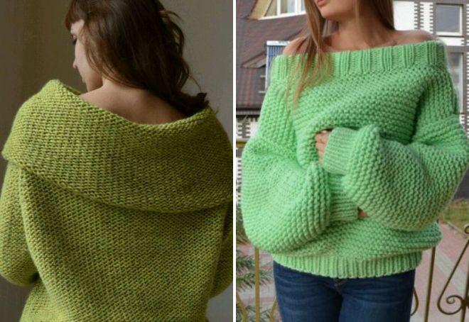 зеленый свитер из толстой пряжи