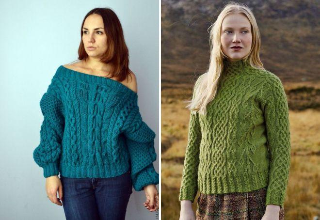 зеленый свитер с аранами