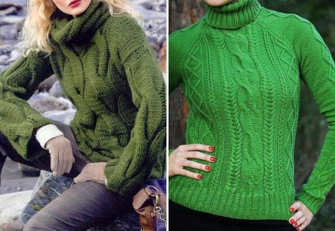 свитера зеленого цвета