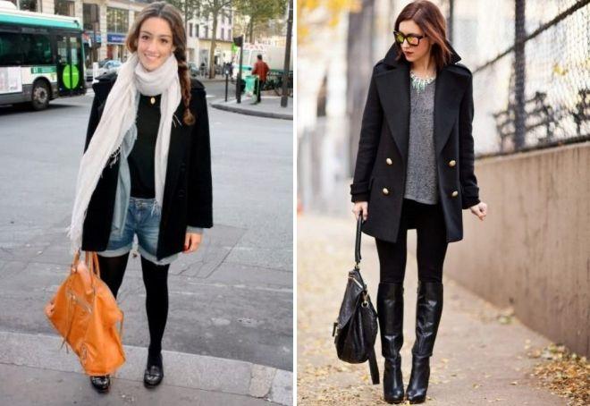 с чем носить короткое черное пальто