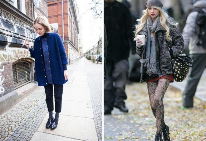 короткое пальто с ботинками