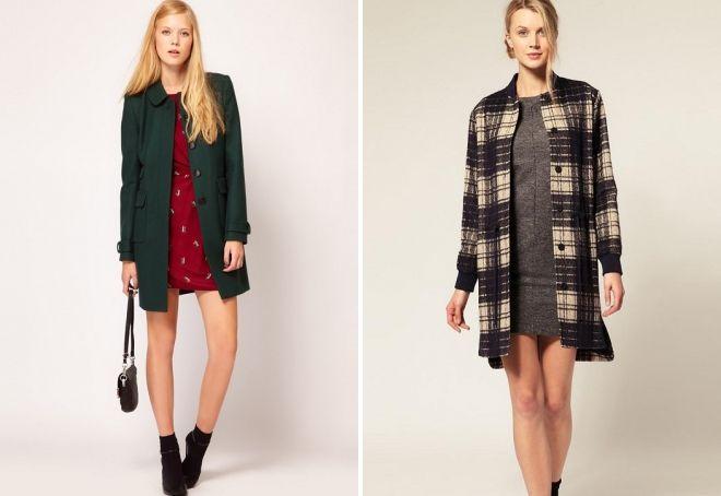 короткое пальто с платьем