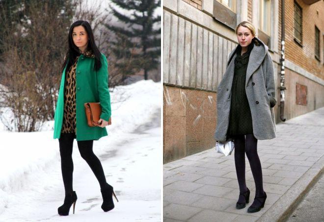платье с коротким пальто
