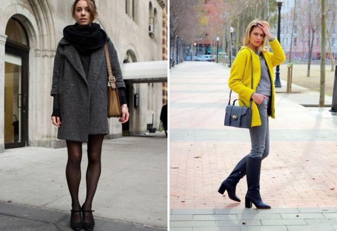 с чем носить прямое короткое пальто