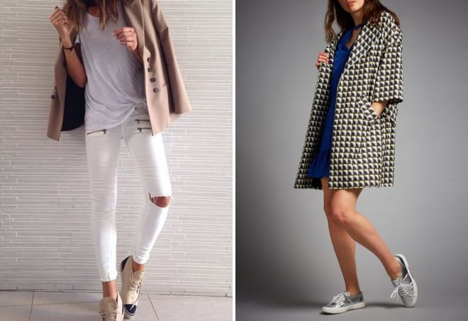 короткое пальто с кроссовками