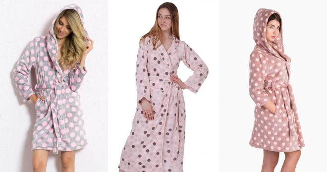 Модные домашние халаты горошек