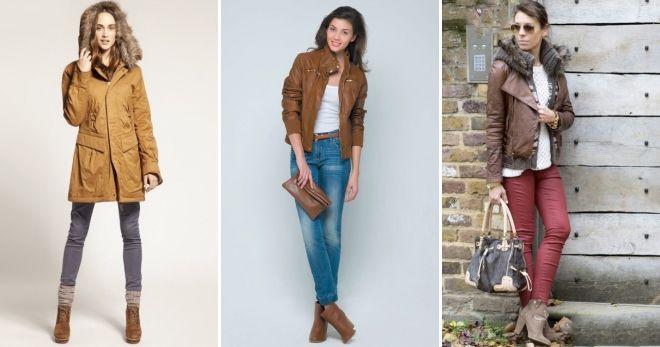 Куртка и коричневые сапоги