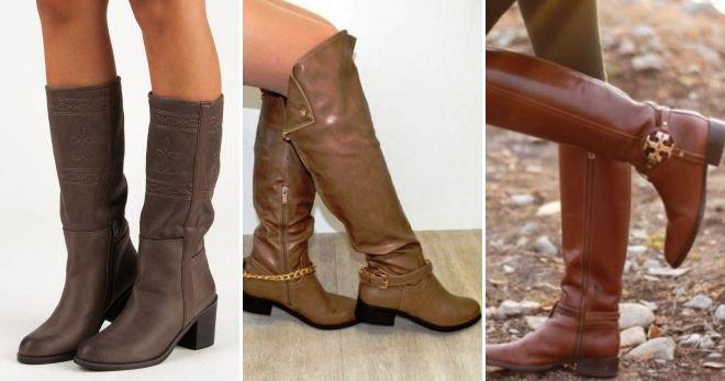 С чем носить кожаные коричневые сапоги
