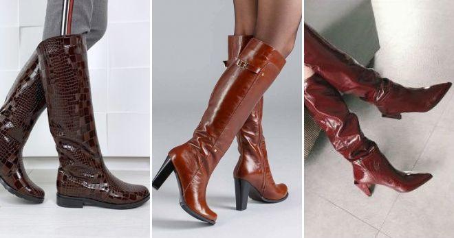 С чем носить кожаные коричневые сапоги лаковые